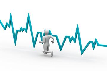 Running men with heart beat graph.