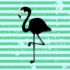 Flamingo silhouette on stripey background