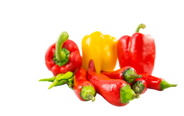 A group of Bell Pepper, Red Chili and Thai Chili