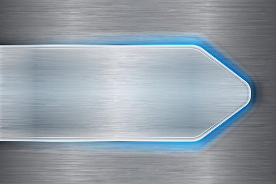 Brushed metal arrow with blue laser light on brushed metallic ba