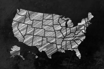USA mit Bundesstaaten auf einer Tafel