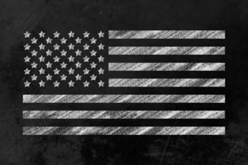 US-Flagge auf einer Tafel
