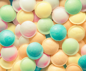 Background texture made of many round candies