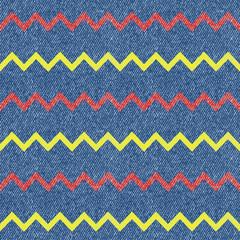 Zig-zag jeans background. Seamless pattern. Vector illustration
