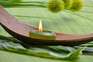Wellness Grün Kerze Wollgraszweig