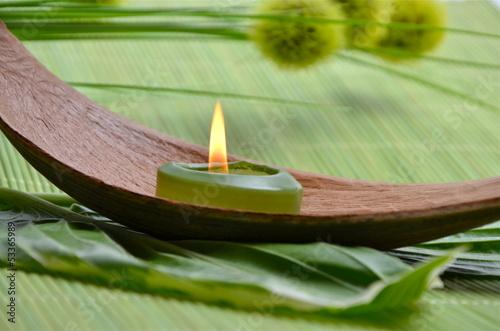 Wellness bilder grün  Wellness Grün Kerze Wollgraszweig