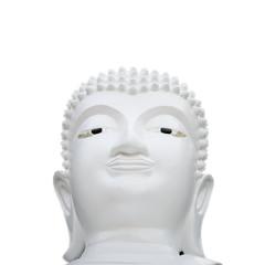 White buddha statue/image on white background.