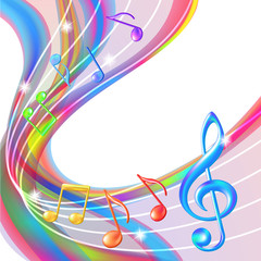 Colorful abstract notes music background.