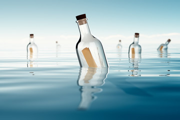Bottles in a ocean