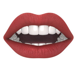Female mouth isolated on white background, hires, ray traced