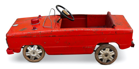 Old toy pedal car. Clipping path included.