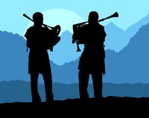 Fotorolgordijn Militair Scottish bagpiper silhouette landscape vector background