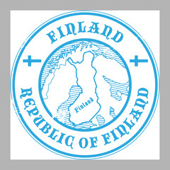 Stamp with the name and map of Finland, vector illustration