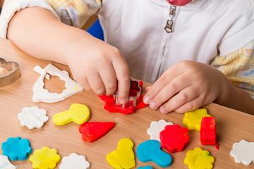 Children work with plasticine