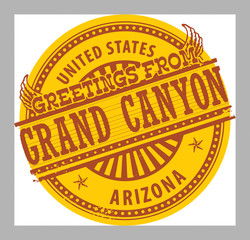 Stamp with text Greetings from Grand Canyon, Arizona, vector