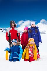 Kids outside on winter day