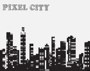 Urban silhouette in the pixel vector graphics