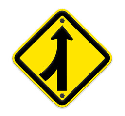 Road Merge Sign on white,part of a series.