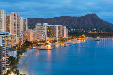 Honolulu city and Waikiki Beach at night