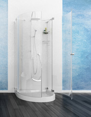 Modern glas shower cubicle