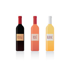 Isolated bottles of wine with label set