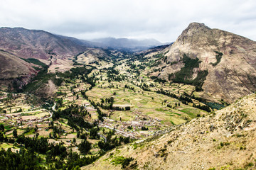 Peru, Pisac-Inca ruins in the sacred valley,Peruvian Andes