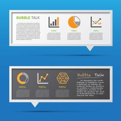 Business icon and 3D bubble talk blackboard.