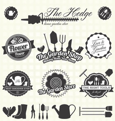 Vector Set: Vintage Gardening Labels and Icons