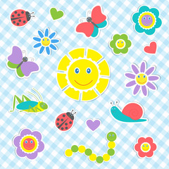 Set of vector cute insects and flowers