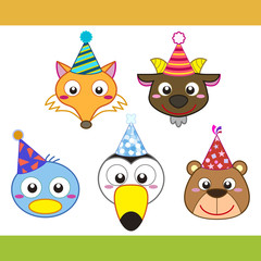 cartoon party animal icons collection