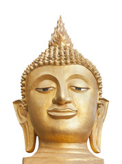 Head of golden Buddha statue, isolated on white background