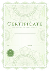 Green Certificate / Diploma template (background). Guilloche