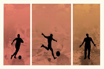 Buntes Tryptichon mit Fußballspieler-Silhouetten