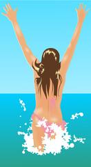 Fille de dos bikini mer
