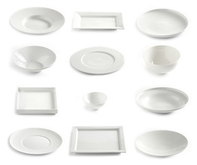 various empty white plates