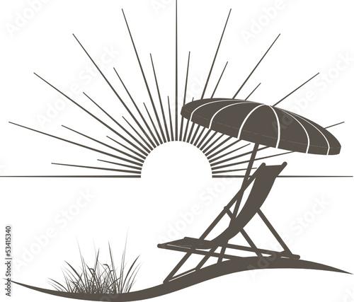Sonnenschirm grafik  Liegestuhl und Sonnenschirm