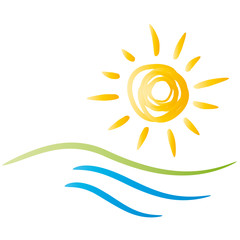 Logo Urlaubszeit, Sommer - Sonne - Strand und Wasser