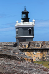 Lighthouse at  El Morro fort in San Juan,