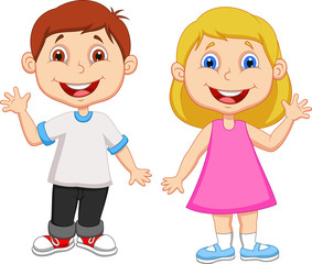 Boy and girl waving hand