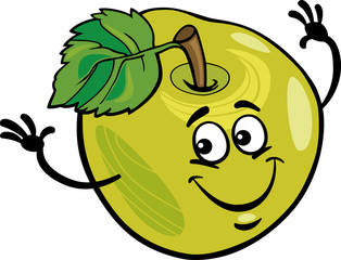 funny apple fruit cartoon illustration