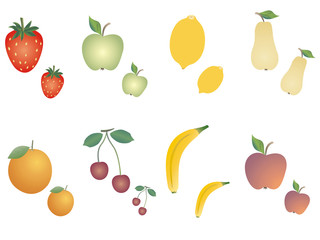 Group of fruits diverse on white background