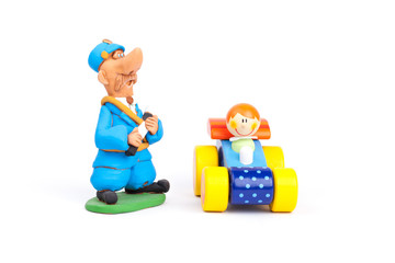 Traffic policeman and driver isolated on a white backgrounds