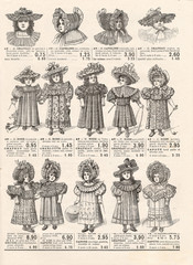 fashion for little victorian girls. vintage clothing. Paris 1897