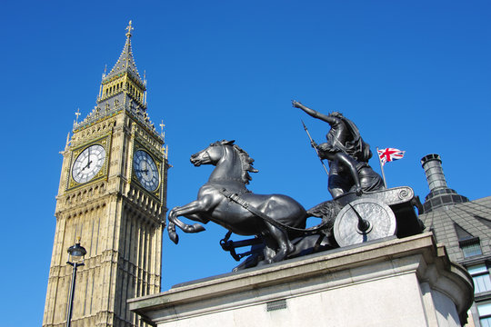 Big Ben And Boudicca Staute In Westminster, London