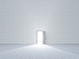 White room with binary code and door with bright light