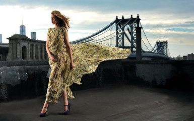 Fashion model posing sexy on rooftop with bridge on background