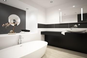Modern design black luxury bathroom interior