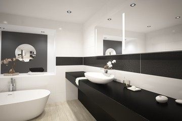 Modern design black luxury bathroom interior