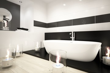 Modern bathroom with bathtub and romantic candles