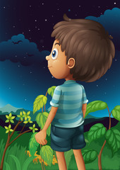 A boy gazing at the sky